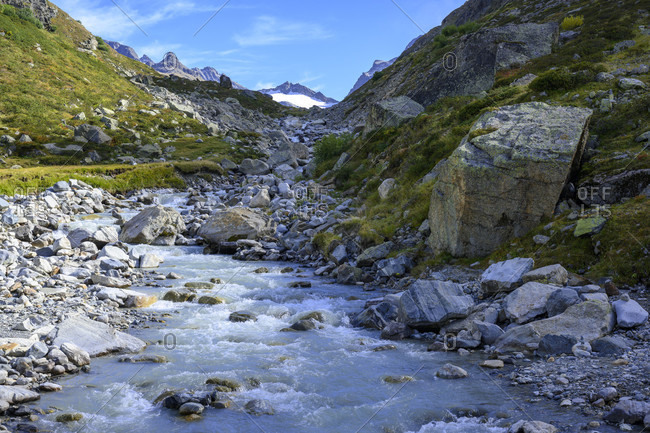 Austria, montafon, the ill just before it flows into lake silvretta.
