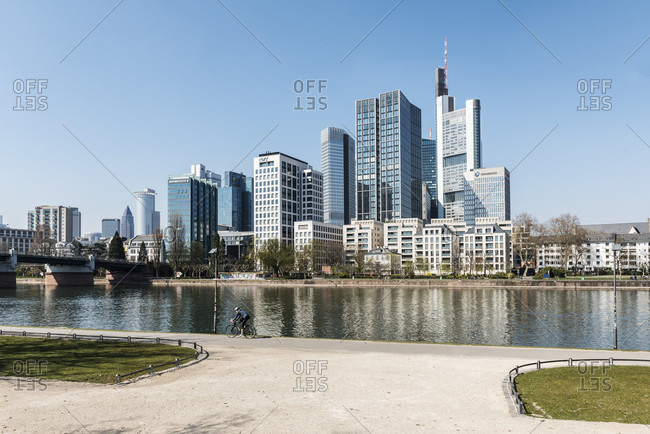 April 2, 2020: frankfurt am main, hesse, Germany, frankfurt skyline at dusk