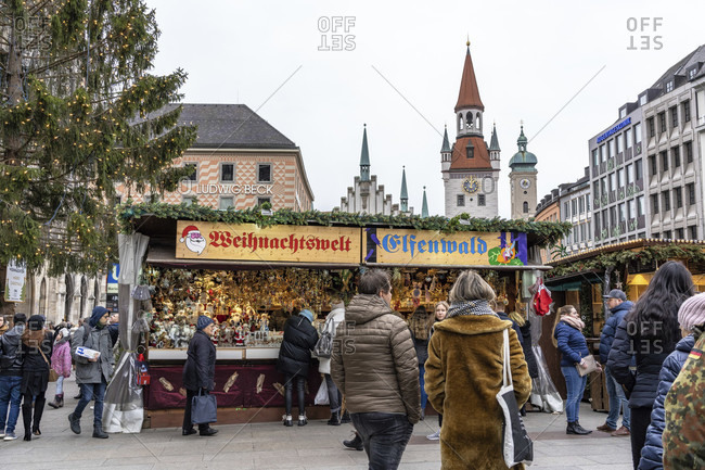 December 22, 2019: europe, Germany, bavaria, munich, city center, marienplatz, christmas market