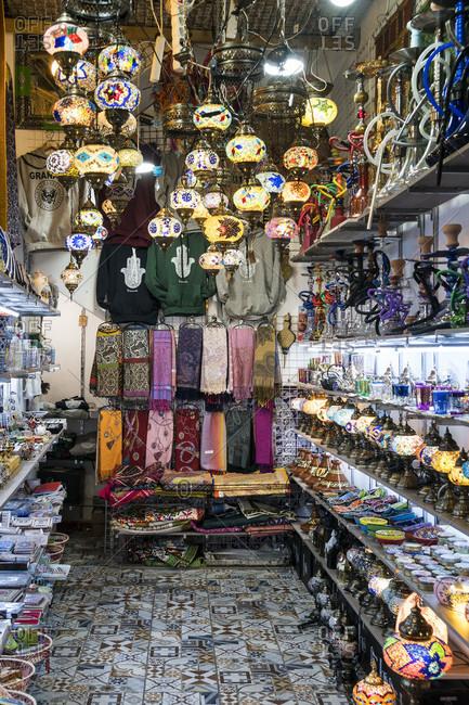 Spain, granada, albaicin, historic moorish quarter, calle calderia nueva, arabian bazaar street