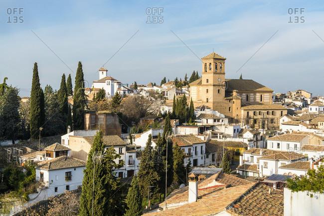 Spain, granada, albaicin, historic moorish quarter, iglesia san salvador, iglesia san nicolas