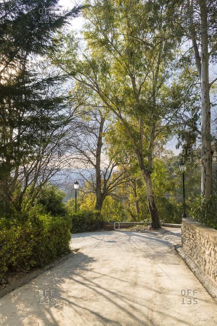 Spain, granada, sacromonte, historic district, abadia del sacromonte, monastery, viewpoint, alhambra view