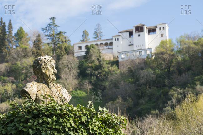 Spain, granada, albaicin, palacio de los cordova, bust, generalife in the background