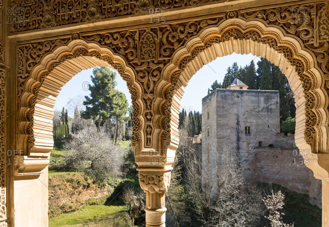 Spain, granada, alhambra, torre de la cautiva, tower of the prisoners, window