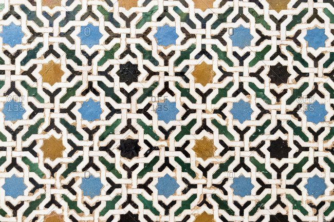 Spain, granada, alhambra, palacios nazaries, nasrid palaces, nasrid ceramics, tiles (alicatado), mosaics