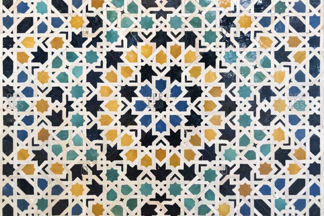 Spain, granada, alhambra, palacios nazaries, nasrid palaces, nasrid ceramics, bandwerk mit sternen