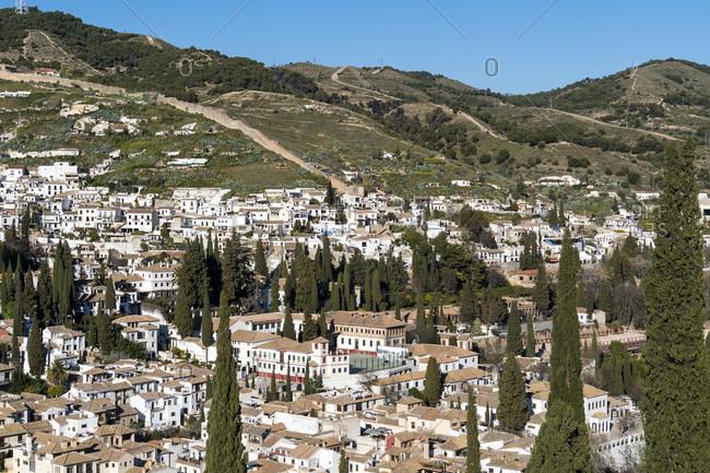 Spain, granada, view from the alhambra towards albaicin, sacromonte, arab city walls