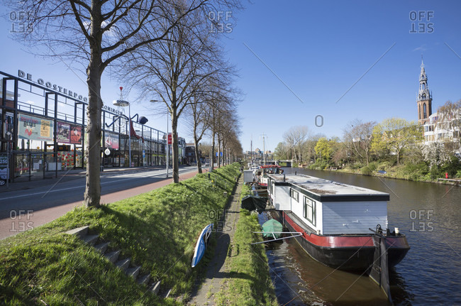 May 11, 2019: view of the canals and de oosterpoort, groningen, netherlands