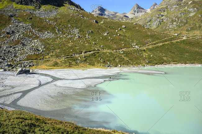 Austria, montafon, the ill flows into the silvrettasee at the southern end.