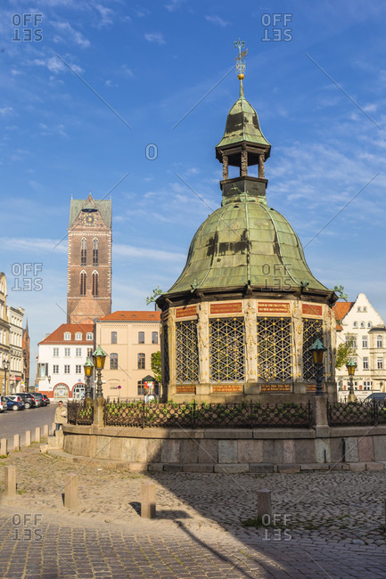 May 5, 2018: water art at the market square, wismar, mecklenburg-west pomerania, Germany