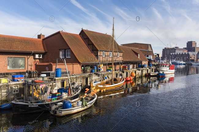 May 5, 2018: fishing boats in the old harbor, wismar, mecklenburg-west pomerania, Germany