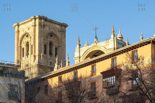 Granada (spain), old town, plaza bib rambla, view to the cathedral, evening light