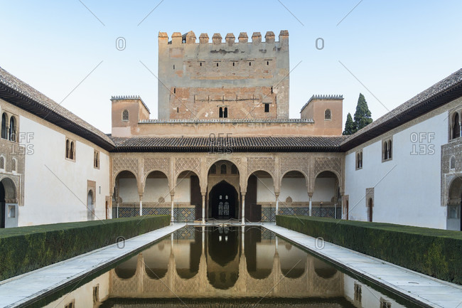 February 16, 2020: granada (spain), alhambra, palacios nazaries, patio de arrayanes, myrtenhof, reflection