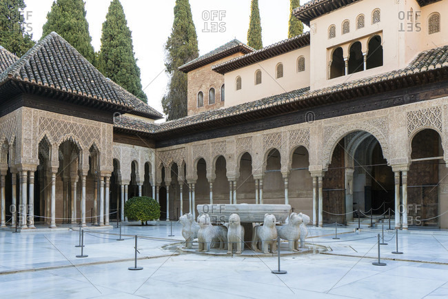 February 16, 2020: granada (spain), alhambra, palacios nazaries, patio de los leones, lienor