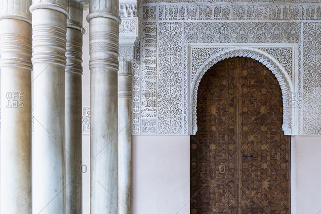 Granada (spain), alhambra, palacios nazaries, patio de arrayanes, myrtenhof, decorated gate, arabic epigraph