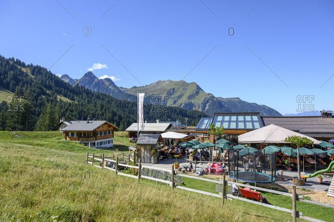 "September 15, 2019: Austria, montafon, st. gallenkirch, alpendorf garfrescha, ""der brunnellawirt"" at 1480m."