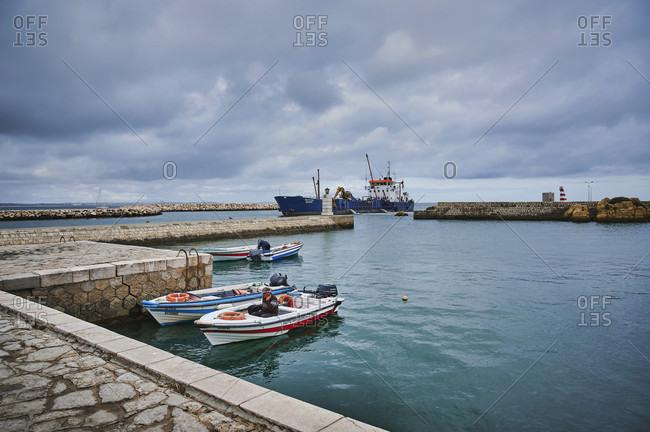 October 31, 2019: europe, portugal, algarve, litoral, barlavento, felsalgarve, district faro, lagos, port entrance