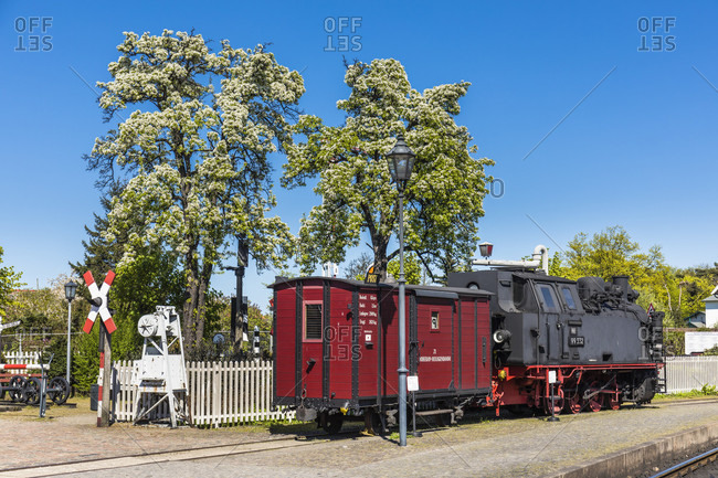 May 5, 2018: molli train station and steam train in kuhlungsborn, mecklenburg-west pomerania, Germany