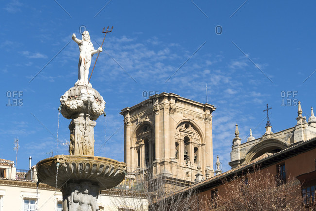 February 15, 2020: granada (spain), old town, plaza bib rambla, view to the cathedral