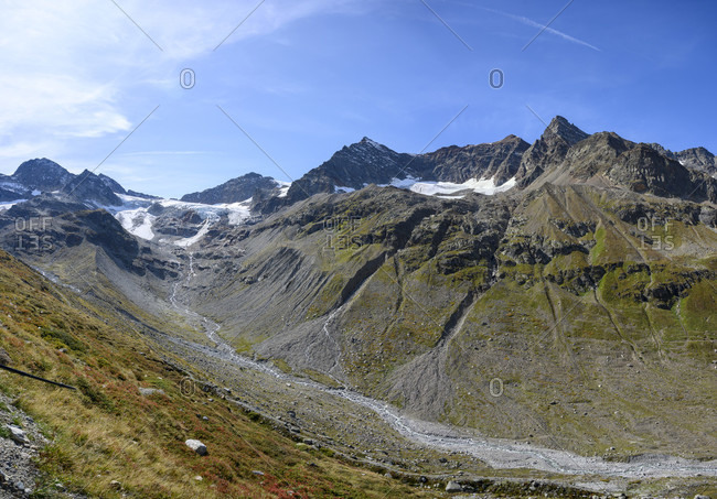 Austria, montafon, the ochsental glacier at piz buin and the origin of the ill.