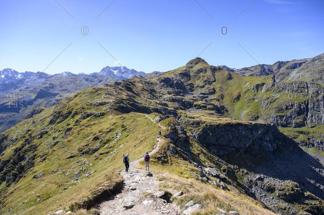 Austria, montafon, gaschurn, hiking trail at versettla, in the background the madrisella (2466 m).