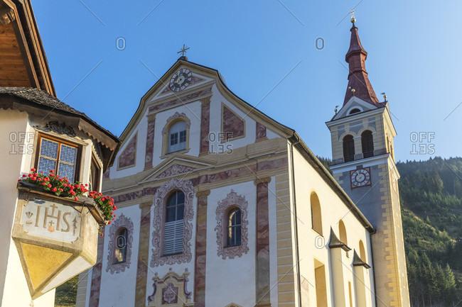 September 18, 2018: obertilliach, the st ulrich parish church, district of lienz, east tyrol, Austria