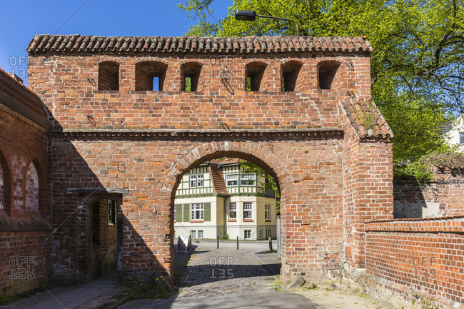 Main brick gate to the monastery complex and minster in bad doberan, mecklenburg-west pomerania, Germany