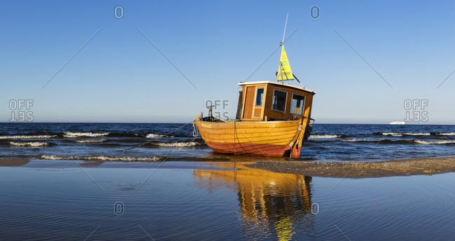May 7, 2018: fishing trawler on the beach, ostseebad ahlbeck, usedom island, mecklenburg-west pomerania, Germany