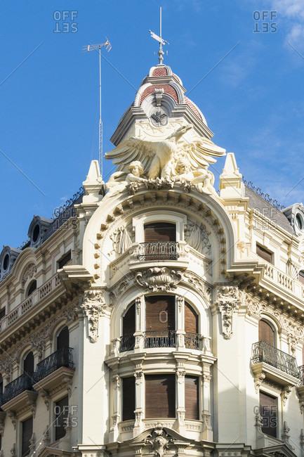 Granada (spain), plaza isabel de catolica, art nouveau facade, corner of gran via de colon