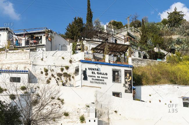 February 18, 2020: spain, granada, sacromonte, historic district, camino del sacromonte, hiking trail, flamenco advertising