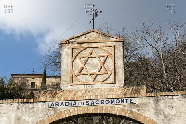February 18, 2020: granada (spanie), sacromonte, historic district, abadia del sacromonte, monastery, star of david