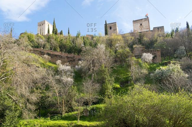 Spain, granada, view of the alhambra from the darro waterfront, puerta de los tableros, spring