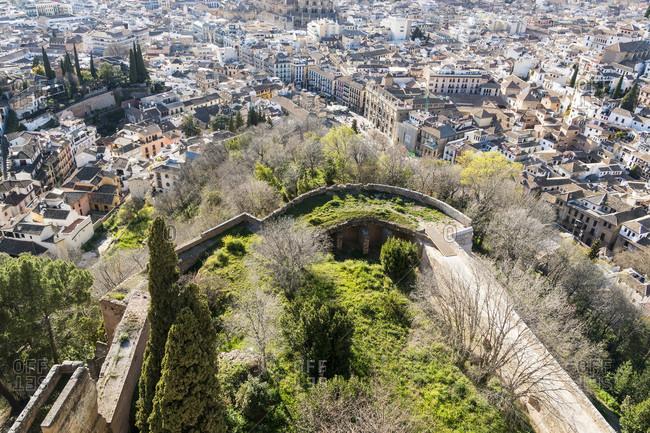 Spain, granada, alhambra, alcazaba, view from torre de la vela to the city center, fortress