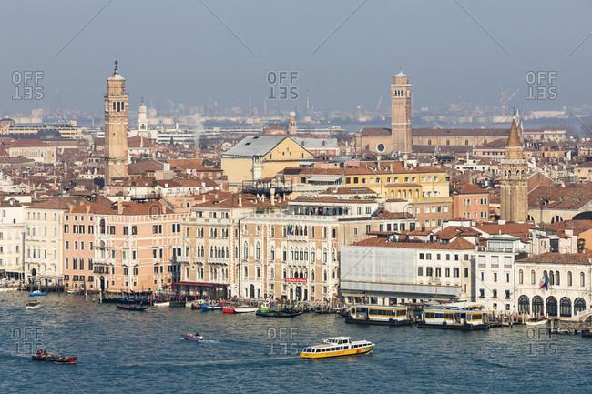 March 26, 2018: view of lagoon and city, isola di san giorgio maggiore, venice, veneto, italy