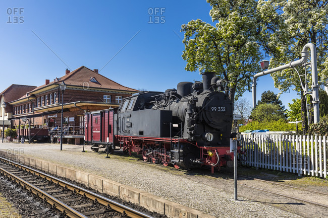 May 5, 2018: historic locomotive 99 332 in the museum station of kuhlungsborn, mecklenburg-west pomerania, Germany