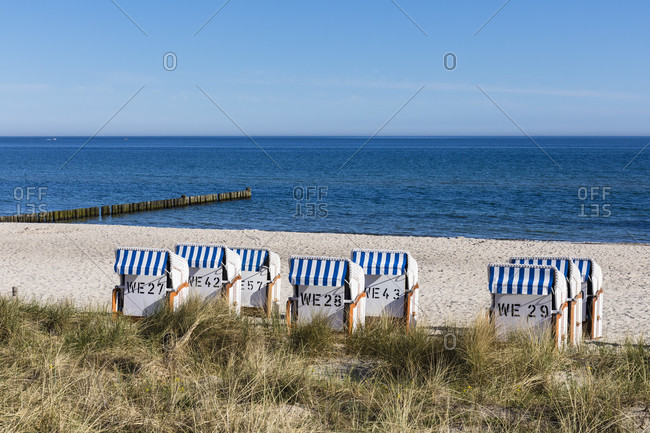 View over dune grass to beach chairs on the baltic sea, ostseebad kuhlungsborn, mecklenburg-west pomerania, Germany