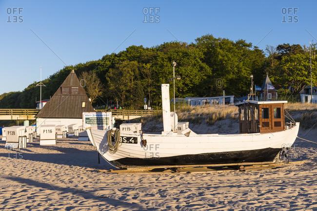 May 7, 2018: fishing boats on the beach, koserow seaside resort, usedom island, mecklenburg-west pomerania, Germany