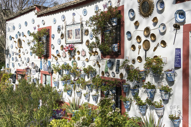 February 22, 2020: granada (spain, sacromonte, historic district, camino del sacromonte, hiking trail, house with decorated facade