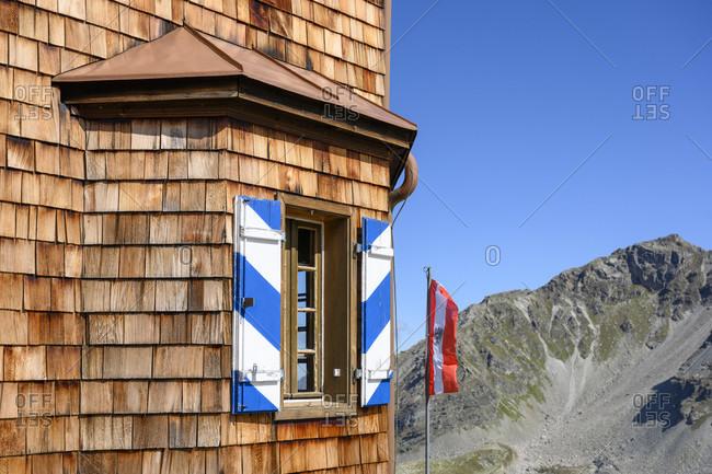 Austria, montafon, the Saarbrucken hutte of the dav at 2538 m lies below the kleinlitzner (2783 m).