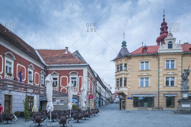 June 9, 2016: ptuj (pettau), the city hall and the buildings of the historic center, slovenian styria, slovenia