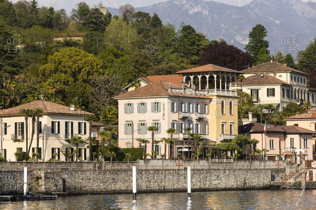 April 24, 2018: view of town with the hotel villa marie, tremezzo, lake como, como province, lombardy, italy