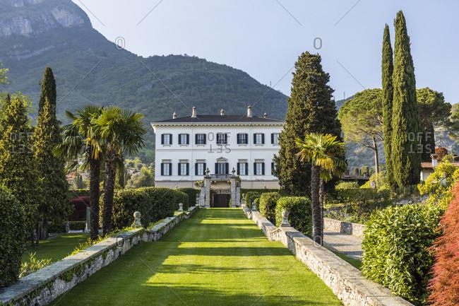 April 24, 2018: green line of sight to a villa in tremezzo, lake como, como province, lombardy, italy