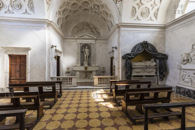 April 24, 2018: interior view of the chapel of villa melzi, bellagio, lake como, province of lecco, lombardy, italy
