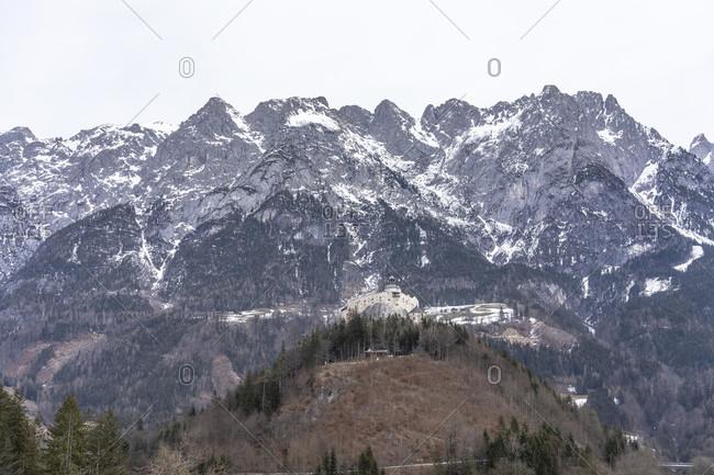 Europe, Austria, salzburg state, werfen, view of hohenwerfen castle in salzburg state against the backdrop of the tennen mountains