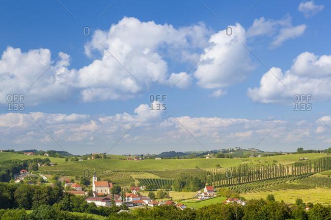 The small village of miklavz pri ormozu in the wine growing region of jeruzalem, municipality of ormoz, slovenian styria, slovenia