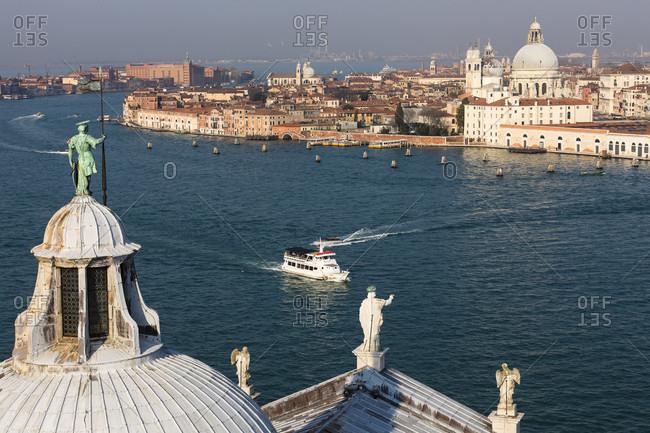View over the domes of san giorgio maggiore to lagoon and city, isola di san giorgio maggiore, venice, veneto, italy