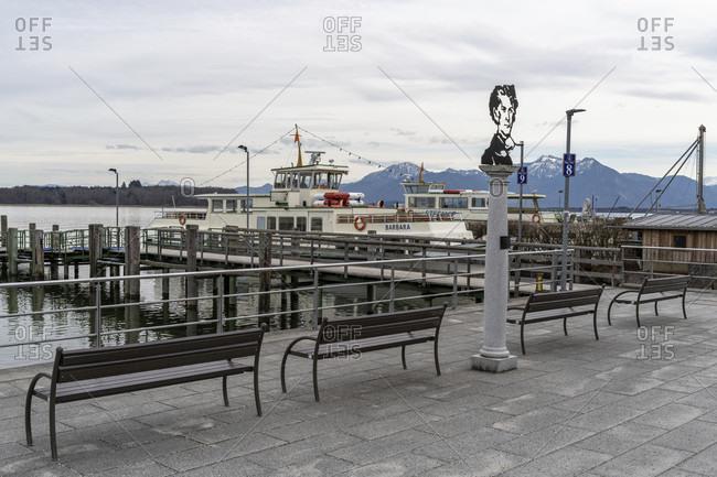 February 17, 2020: europe, Germany, bavaria, rosenheim, prien am chiemsee, chiemsee, view of the boat dock in prien am chiemsee