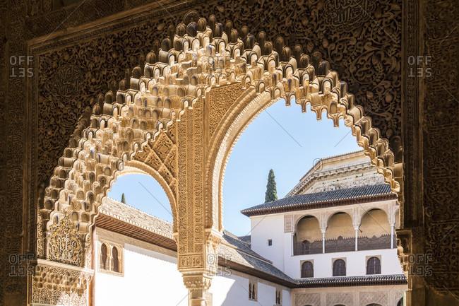 February 23, 2020: spain, granada, alhambra, palacios nazaries, nasrid palaces, sala de la barca, hall of the boat, arabic epigraphy