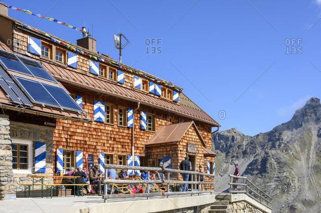 September 19, 2019: Austria, montafon, the Saarbrucken hutte of the dav at 2538 m lies below the kleinlitzner (2783 m).