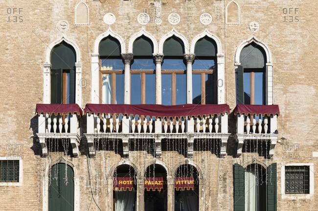 January 21, 2018: facade of the hotel palazzo vitturi on campo santa maria formosa in the sestiere castello, venice, veneto, italy